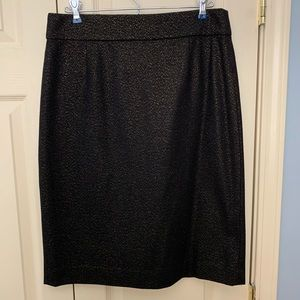 J. Crew Holiday black and gold pencil skirt